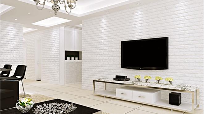 Cách phối màu xốp dán tường cho phòng khách đẹp nhất hiện nay